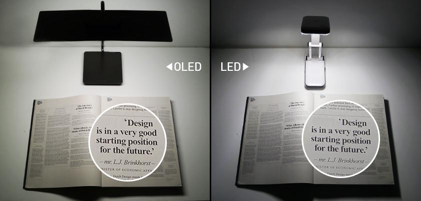 OLED与LED灯光下的清晰度对比图