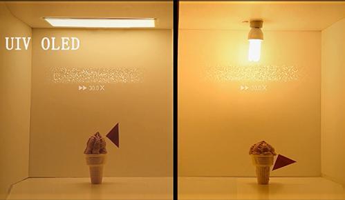 UIV OLED与普通照明灯的发热对比试验